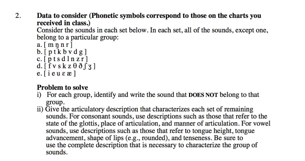 2data To Consider Phonetic Symbols Correspond To Chegg