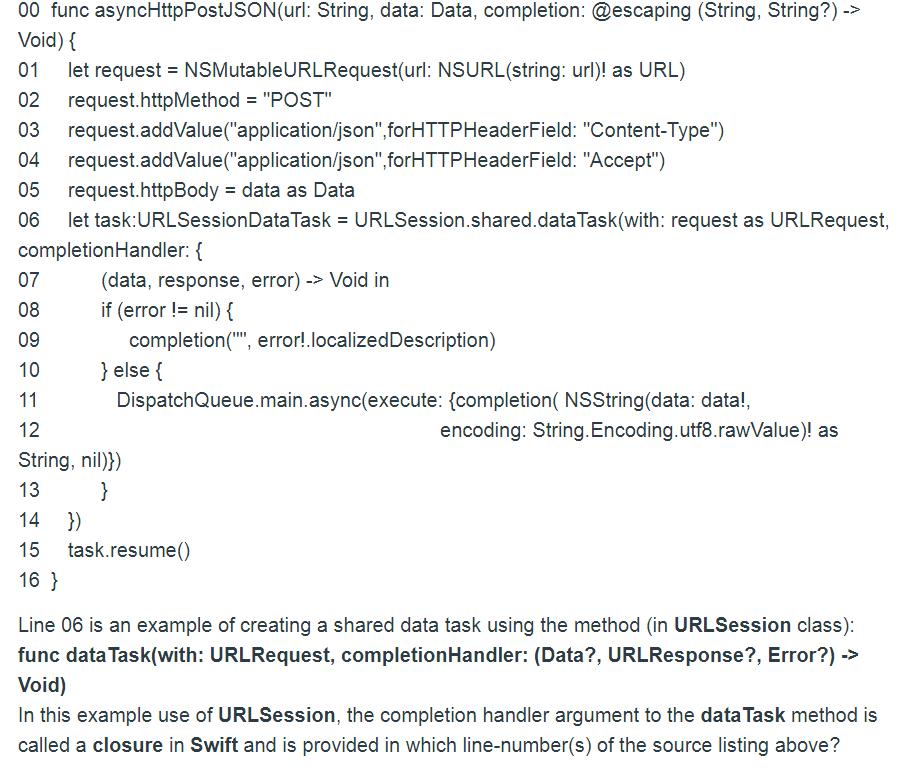 00 Func AsyncHttpPostJSON(url: String, Data: Data,    | Chegg com