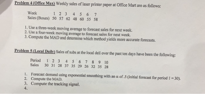Solved: Problem 4(Office Max) Weekly Sales Of Laser Printe