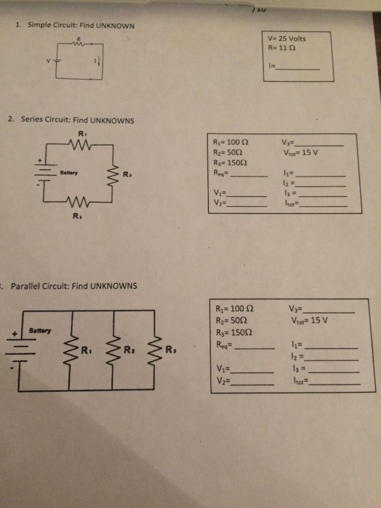 Solved 1 Simple Circuit Find Unknown V 25 Volts Rs11 Voltages And Sizes Of Batteries In A Series Or Parallel 2