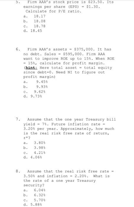 Solved Firm Aaa S Stock Price Is 2350 Its Earnings