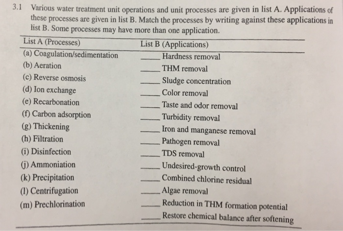 Solved: 3 1 Various Water Treatment Unit Operations And Un