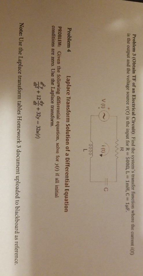 Problem 3 Obtain Tf Of An Electrical Circuit Find The Systems Transfer Function