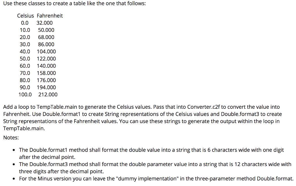 Double Java Contains Three Methods Use These Cl To Create A Table Like The One That Follows Celsius Fahrenheit 0