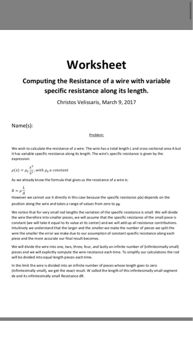 Solved worksheet computing the resistance of a wire with worksheet computing the resistance of a wire with variable specific resistance along its length christos greentooth Images