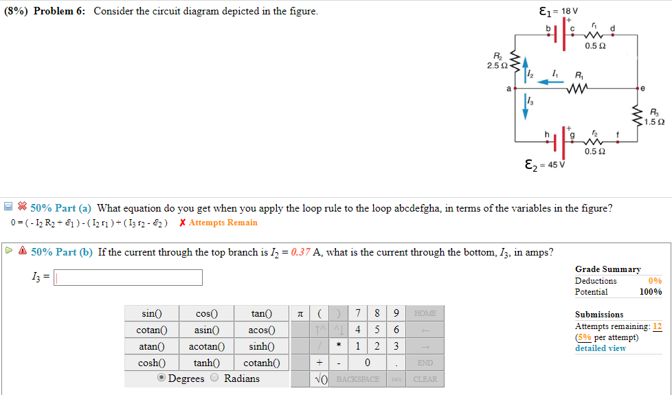(8%) problem 6: consider the circuit diagram depicted in the figure 0 5