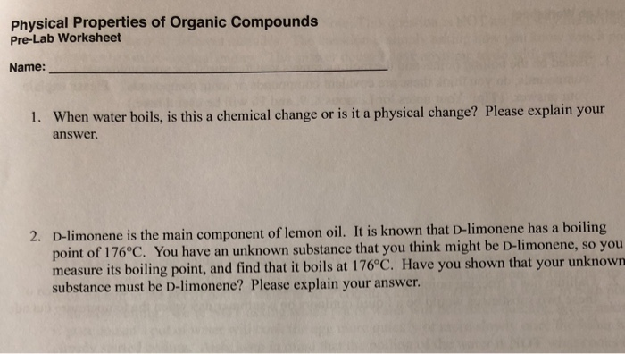 Solved Physical Properties Of Organic Compounds Pre Lab W