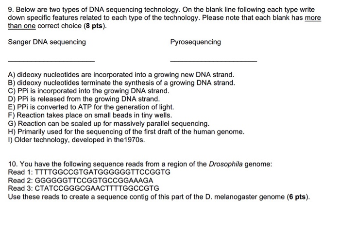 Below are two types of DNA sequencing technology. On the blank line  following