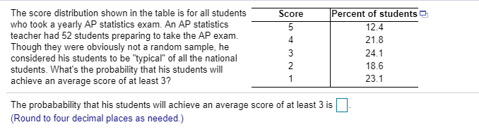 Solved: Is For All Students Score Percent Of Students The