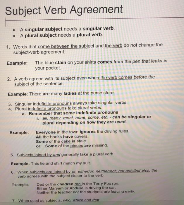 Subject Verb Agreement A Singular Subject Needs Chegg