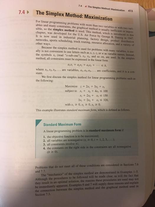 Linear programming simplex method example.
