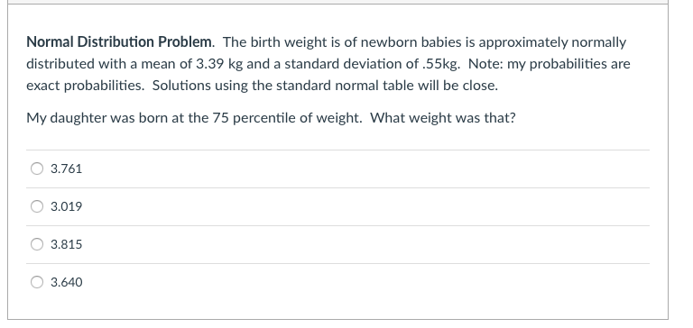 Solved: Normal Distribution Problem  The Birth Weight Is O