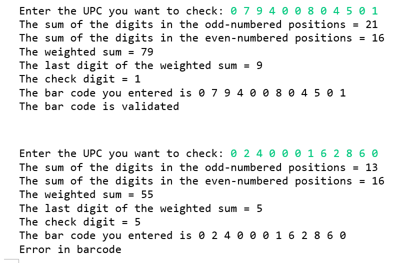 Solved: Enter The UPC You Want To Check: 0 7 9400 8045 1 T
