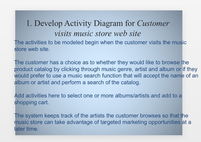 Solved 1 develop activity diagram for customer visits mu develop activity diagram for customer visits music store web site the activities to be ccuart Choice Image
