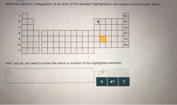 Solved Write The Electron Configuration Of An Atom Of The