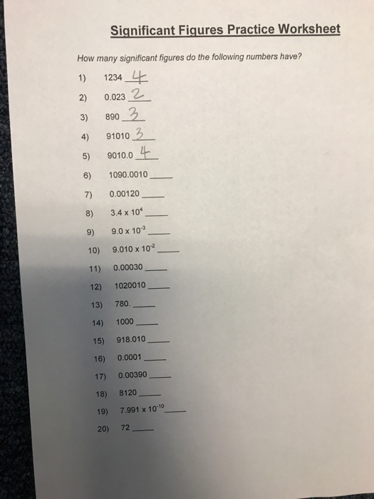 Solved: Significant Fiqures Practice Worksheet How Many Si ...