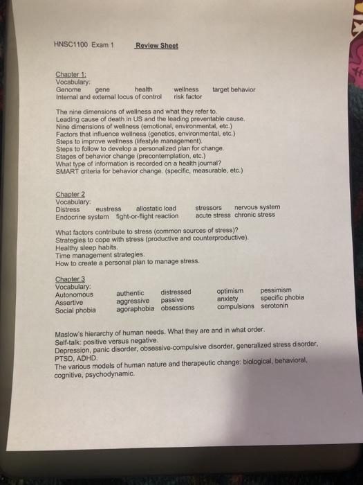 HNSC1100 Exam 1 Review Sheet Vocabulary Genome Gen