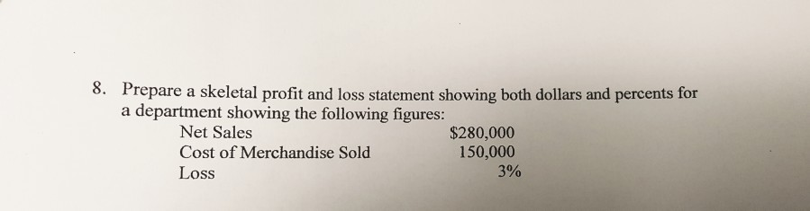 solved 8 prepare a skeletal profit and loss statement sh