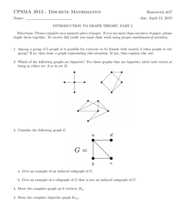 Solved: CPSMA 3913 - DISCRETE MATHEMATICS Name: Homework