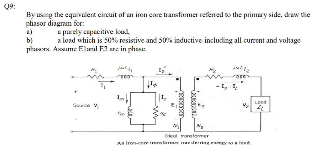 Solved: Q9: By Using The Equivalent Circuit Of An Iron Cor