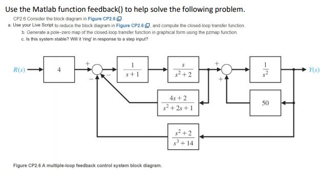 use the matlab function feedback() to help solve the following problem cp2 6