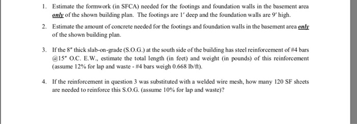 Solved: 1  Estimate The Formwork (in SFCA) Needed For The