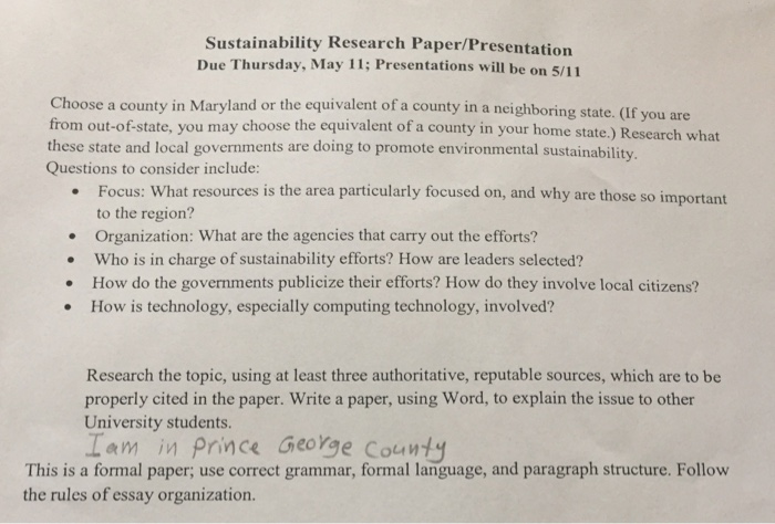 sustainability research paper topics