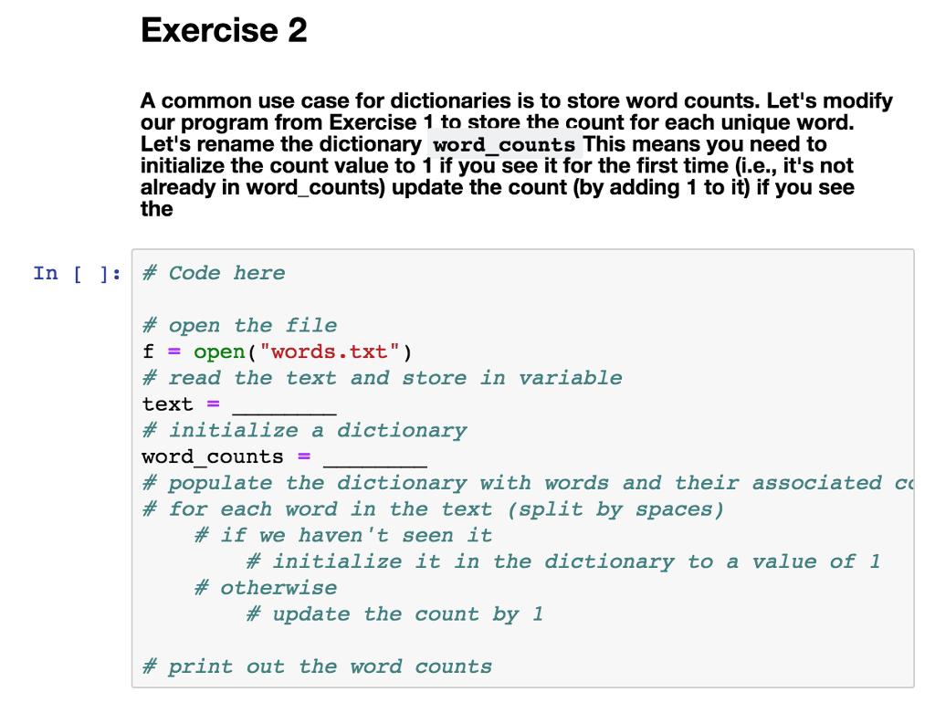 Solved: %%% Python Jupyter Notebook %%% Words txt - File W