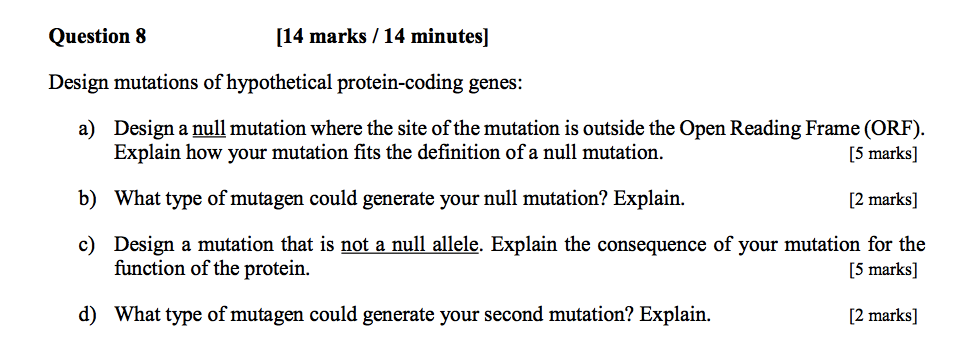 Solved: Question 8 [14 Marks /14 Minutes] Design Mutations ...