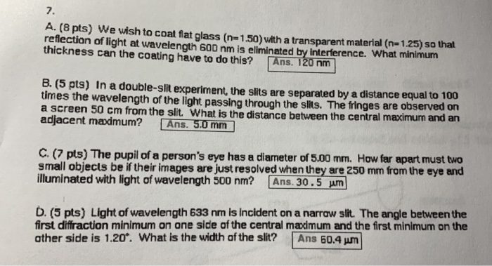 Solved: 7  A  (8 Pts) We Wish To Coat Fat Glass (n= 1 50