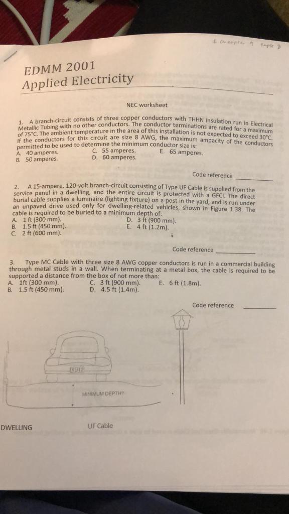 Solved: EDMM 2001 Applied Electricity NEC Worksheet Of Thr