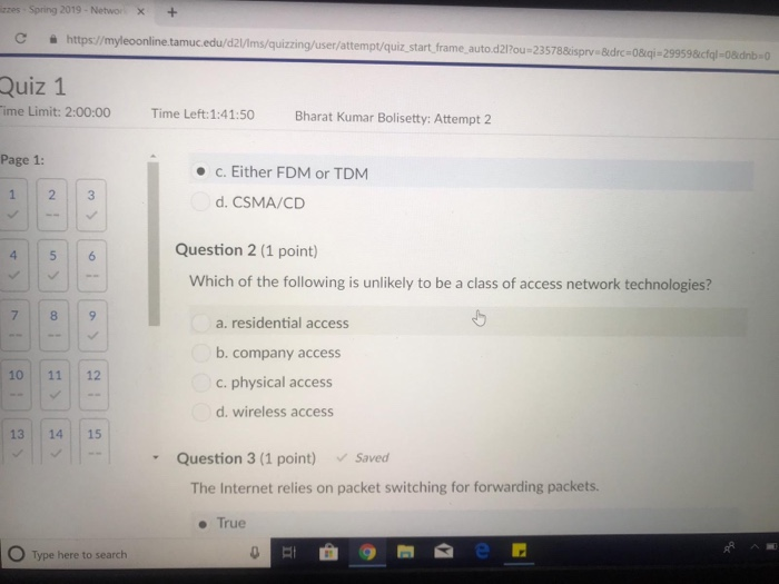 zzes Spring 2019-Networx+ C https:/myleoonline tamuc.edu/d21/lms/quizzing/user/attempt/quiz start frame auto d217ou-23 788isp