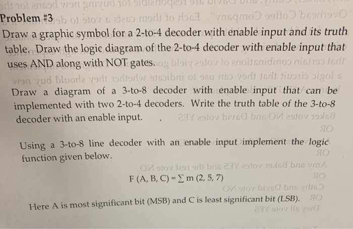 problem #3 draw a graphic symbol for a 2-to-4 decoder with