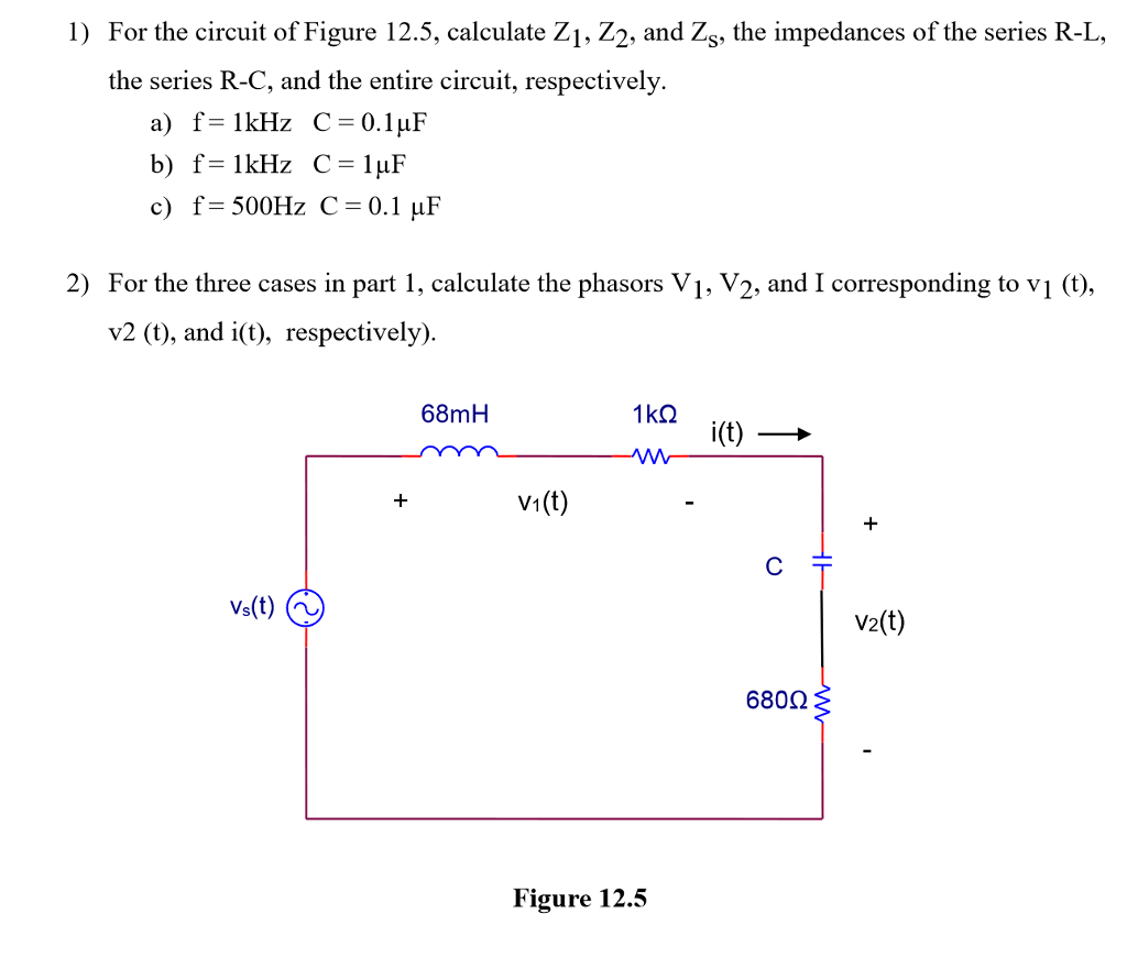 solved for the circuit of figure 125 calculate z1 z2