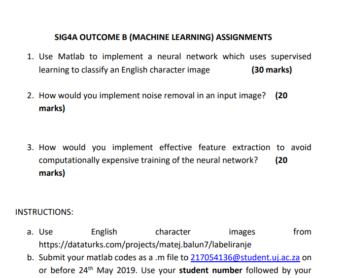 Solved: SIG4A OUTCOME B (MACHINE LEARNING) ASSIGNMENTS 1
