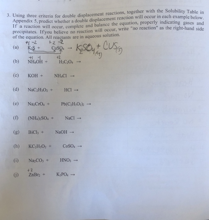 5 examples of double displacement reaction