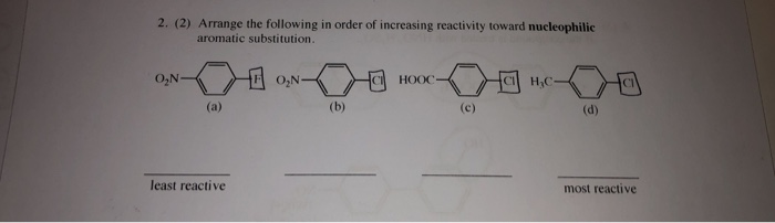 2. (2) Arrange the following in order of increasing reactivity toward nucleophilic aromatic substitution. O2N CI HOOC CI HC least reactive most reactive