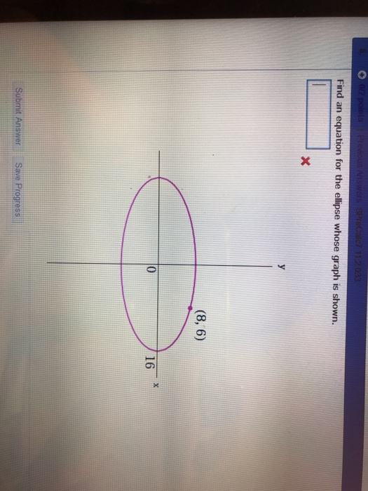 Find an equation for the ellipse whose graph is shown (8,6) 16