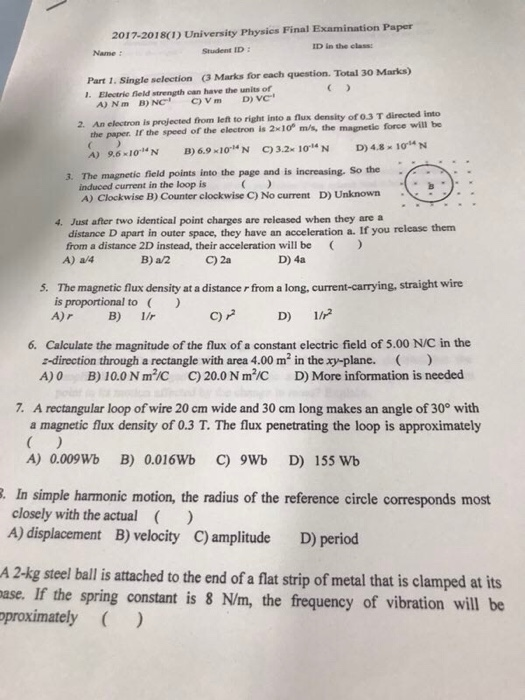Solved: 2017-2018) University Physics Final Examination Pa