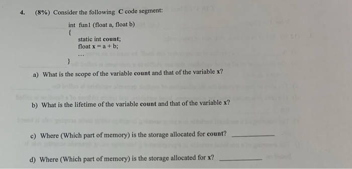 Solved: (8%) Consider The Following C Code Segment: Int Fu