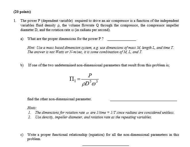 Solved: (20 Points) 1  The Power P (dependent Variable) Re