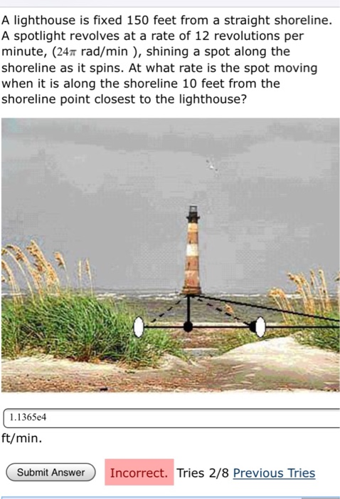 Solved: A Lighthouse Is Fixed 150 Feet From A Straight Sho