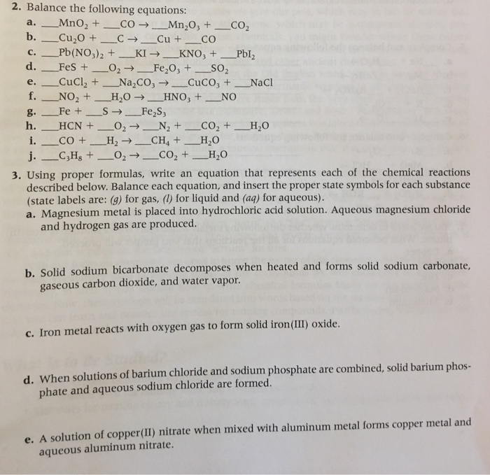 Solved Balance The Following Equations A Mno2