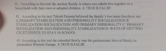 functions of extended family