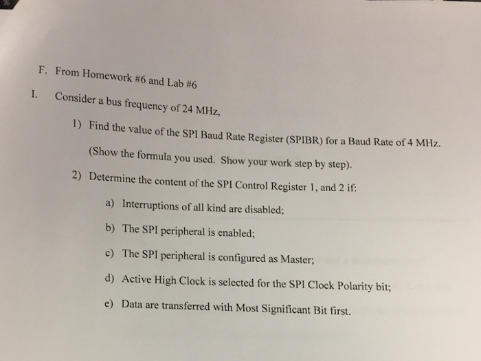 Solved: F  From Homework #6 And Lab #6 I  Consider A Bus F