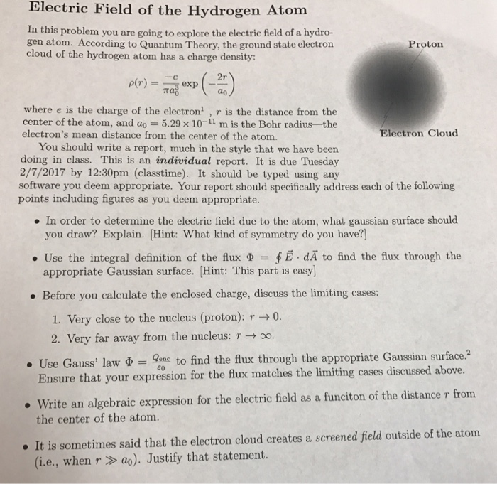 Solved: Electric Field Of The Hydrogen Atom In This Proble