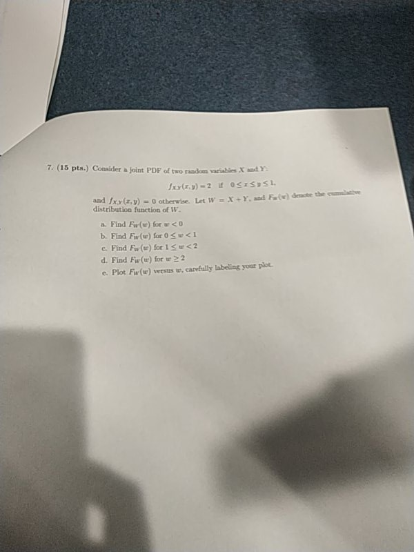 7  (15 Pts ) Consider A Joint PDF Of Two Random Va