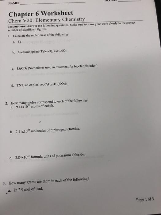 Solved Name Chapter 6 Worksheet Chem V20 Elementary Che