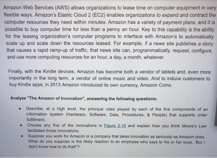Solved: Case Study 2 The Amazon Of Innovation On November