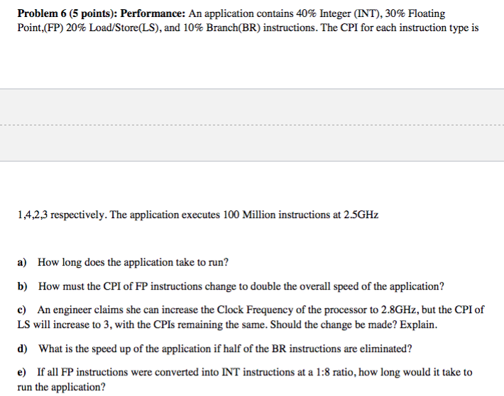 Problem 6 5 Points Performance An Application Chegg
